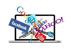 Social network logos on laptop. Social and other logos and icons in laptop. Vector available Royalty Free Stock Image