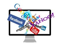 Social network logos on monitor Royalty Free Stock Image