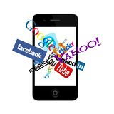 Social network logos on smartphone. Social and other logos and icons in smartphone. Vector available Stock Photo