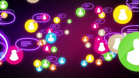Social network loop media concept night neon stock video
