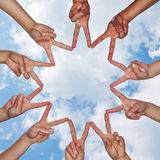 Social network made of many hands in a group Royalty Free Stock Photography