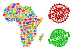 Social Network Map of Africa with Chat Bubbles and Distress Watermarks vector illustration