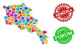 Social Network Map of Armenia with Message Clouds and Textured Seals vector illustration