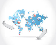 Social network map illustration design Stock Image