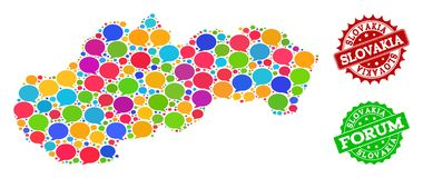 Social Network Map of Slovakia with Talk Clouds and Textured Watermarks stock illustration