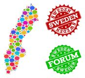 Social Network Map of Sweden with Speech Bubbles and Distress Seals royalty free illustration