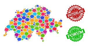 Social Network Map of Switzerland with Speech Bubbles and Distress Seals royalty free illustration