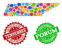 Social Network Map of Tennessee State with Speech Bubbles and Textured Seals stock illustration