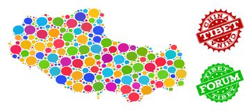 Social Network Map of Tibet with Talk Bubbles and Textured Seals stock illustration