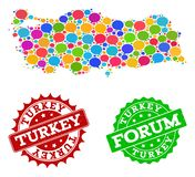 Social Network Map of Turkey with Chat Bubbles and Scratched Stamps stock illustration