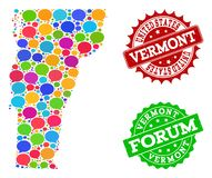 Social Network Map of Vermont State with Talk Bubbles and Distress Watermarks stock illustration
