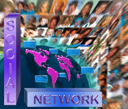 Social network media. Concept with speech bubbles on earth continents illustration with blurred multi race faces and social network wording Royalty Free Stock Photography