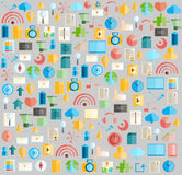 Social network with media icons background,  illustration Royalty Free Stock Photo