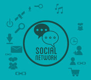 Social network media icons badge green background Stock Images