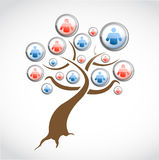 Social network media tree illustration design Stock Image
