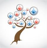 Social network media tree illustration design Stock Image
