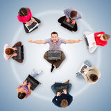 Social network members around one successful man Royalty Free Stock Photos