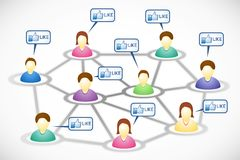 Social network members with like text clouds Royalty Free Stock Image