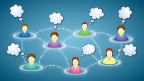 Social network members with text clouds. Illustration of connected social network members with blank faces and text clouds Royalty Free Stock Photos