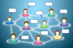 Social network members with text clouds. Illustration of connected social network members with blank faces and text clouds Stock Photos