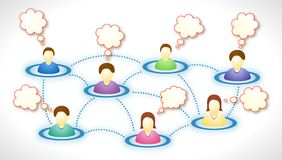 Social network members with text clouds. Illustration of connected social network members with blank faces and text clouds Stock Images