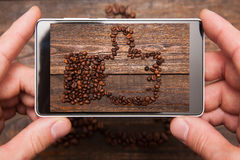 Social network. Mobile food photography. stock photos