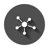 Social network, molecule, dna icon in flat style. Stock Image