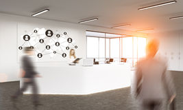 Social network in office lobby royalty free stock photography