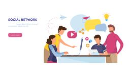 Social network. Online Community. marketing content. Social media, like, share, mail. Flat cartoon illustration vector graphic. On white background stock illustration