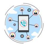 Social network, online mobile chat, social media concept Stock Photos