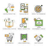 Social network outline icons set of communication Stock Photography