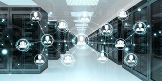 Social network over server room data center 3D rendering. White social network over server room data center interior 3D rendering Stock Photos