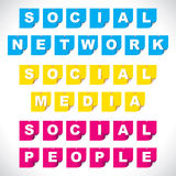 Social network paper note pin Royalty Free Stock Image