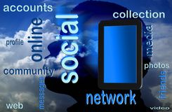 Social network and pc tablet Royalty Free Stock Image
