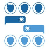Social network people and chat icon, dialog box. Set of men avatars. Vector illustration royalty free illustration