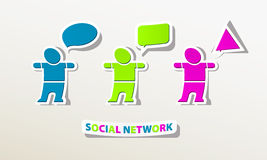 Social network people chat online logo Royalty Free Stock Image