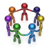 Social network people circle teamwork diverse characters. Friendship individuality team seven different cartoon friends unity meeting icon concept colorful. 3d Stock Image
