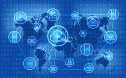 Social network, people connecting all over the world. Social media network. Growth background with lines, circles and integrate. Royalty Free Stock Photo
