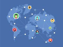 Social network, people connecting all over the world. Vector flat illustration. Royalty Free Stock Image