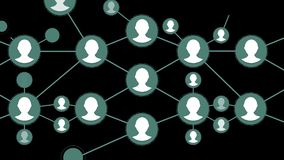 Social Network People Icon Link Connection Technology Loop Animation, black background. Technology Icon Symbol Digital. Animation stock video