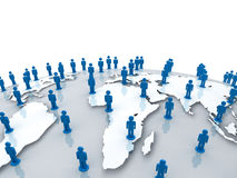 Social network people on world globe map over white Royalty Free Stock Photos