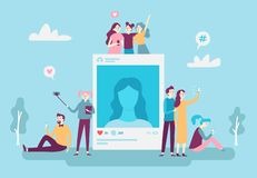 Social network photo post. Youngsters people posting selfie photos on smartphone. Social media addiction vector concept. Social network photo post. Youngsters vector illustration