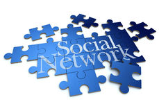 Social network puzzle close up Royalty Free Stock Image