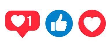 Social network reactions icon, like, heart - vector. Social network reactions icon, like, heart - stock vector Stock Image