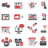 Social Network Red Black Icons Set Royalty Free Stock Photos