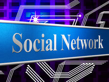 Social Network Represents Connecting People And Friends Stock Image