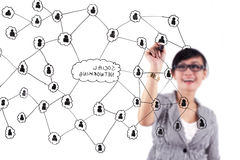 Social network scheme. Happy businesswoman drawing a structure of social network Royalty Free Stock Photos