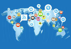 Social network scheme. On the Earth map in perspective Stock Photos