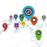 Social network scheme on the Earth map Stock Image