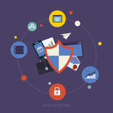 Social network security and data protection. Flat shield icon. Data protection concept. Social network security and data protection vector illustration